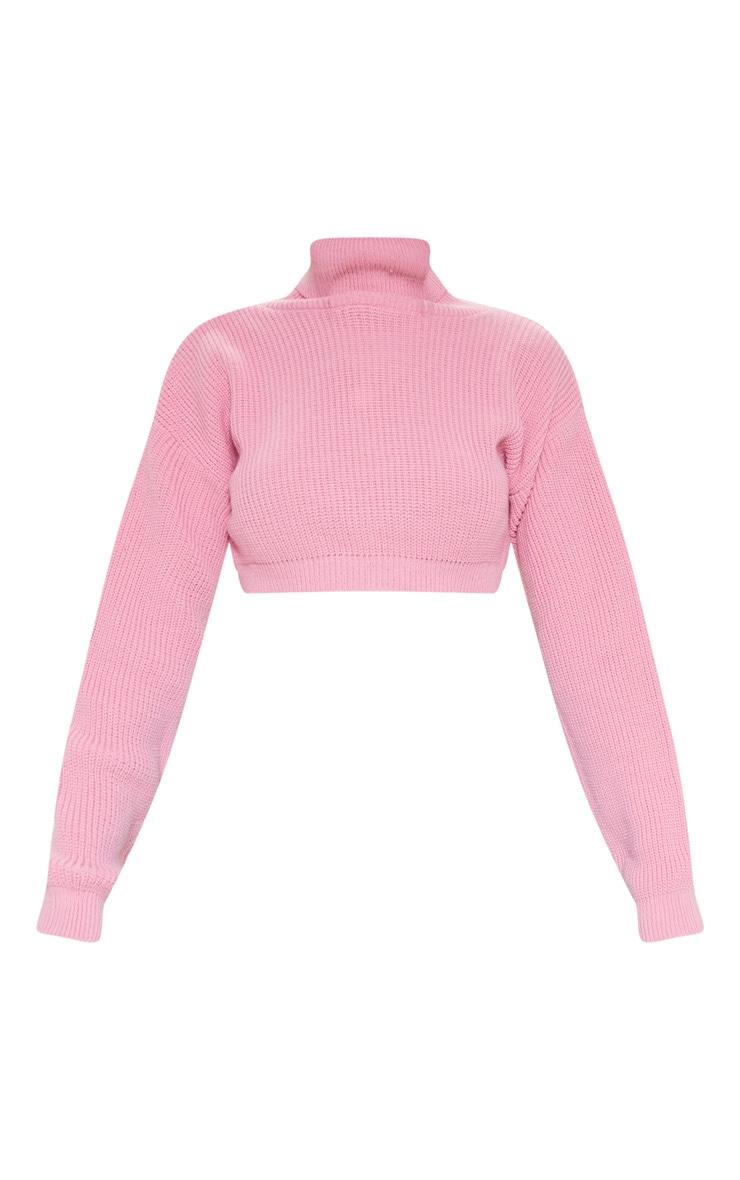 Pink Super Cropped High Neck Knitted Jumper  3