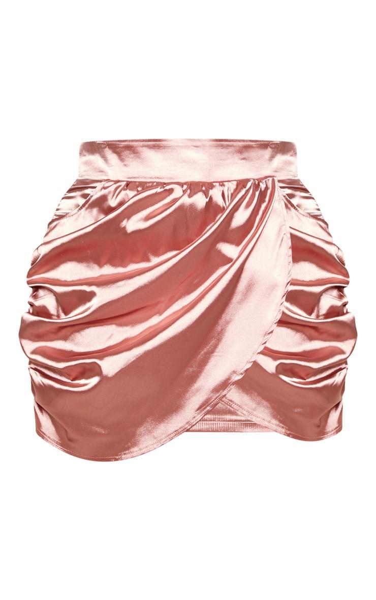 Plus Dusty Pink Satin Gathered Mini Skirt  3