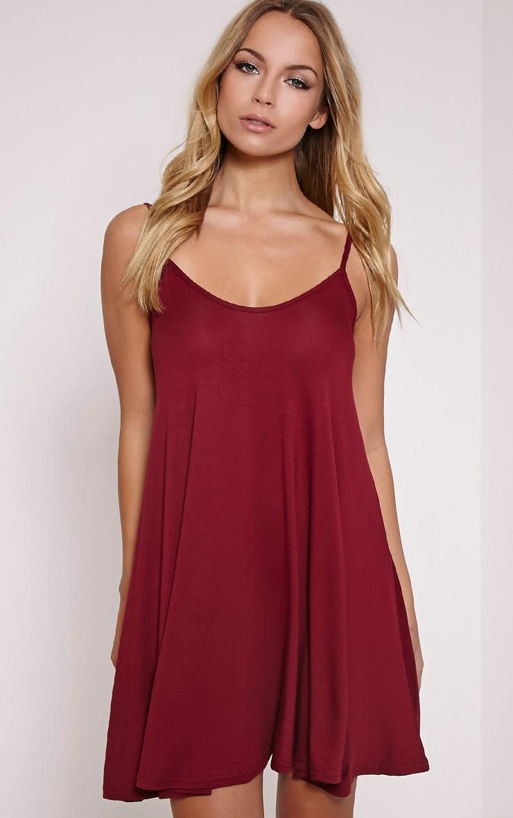 Basic Burgundy Strappy Jersey Swing Dress 1