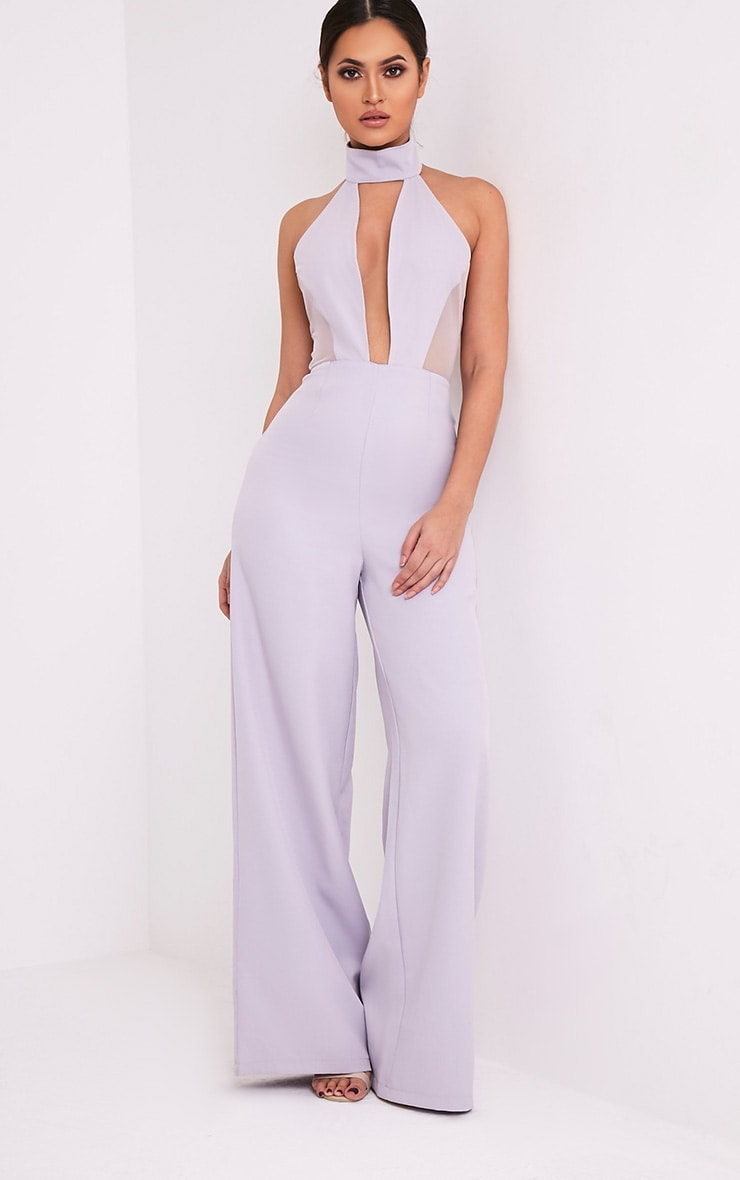 Nonie Grey Choker Neck Mesh Panel Wide Leg Jumpsuit 1