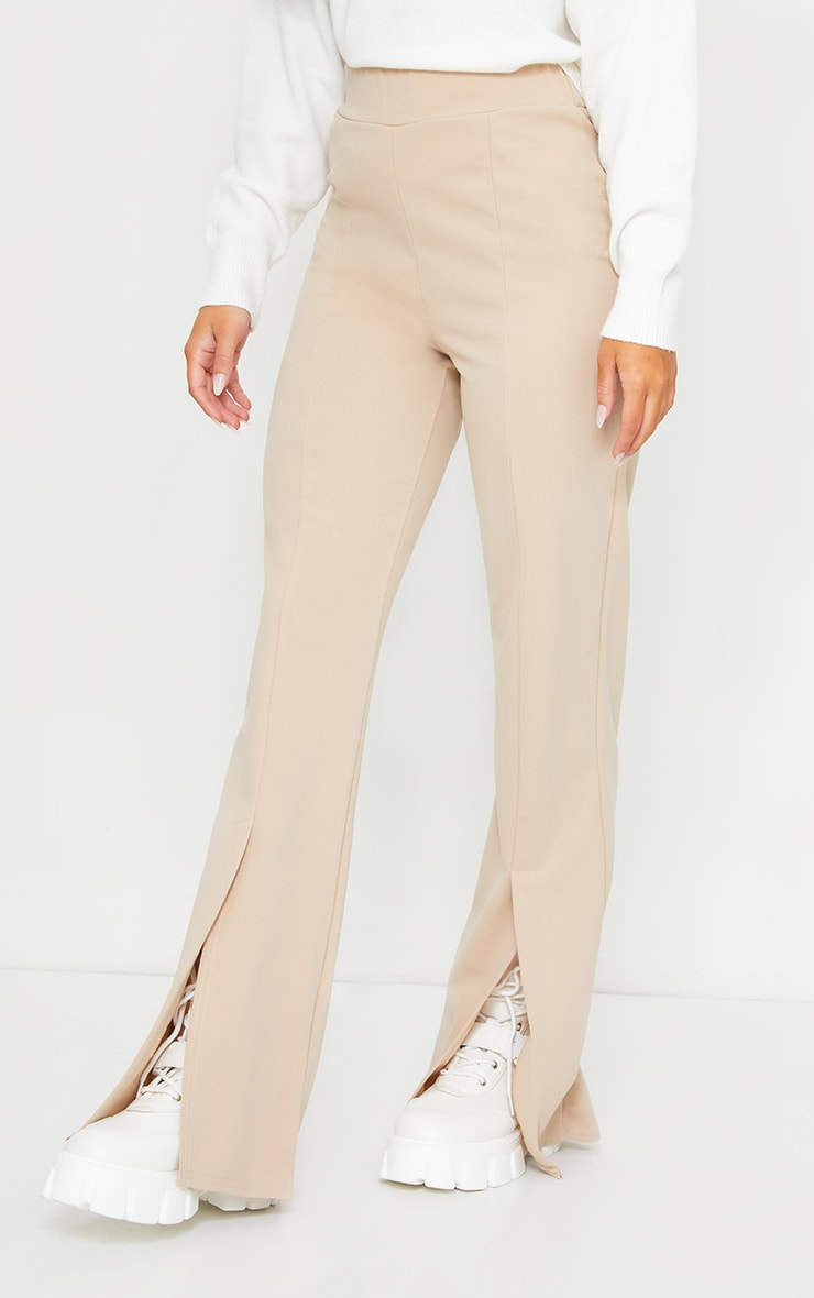 Stone Straight Leg Split Hem Trousers 2
