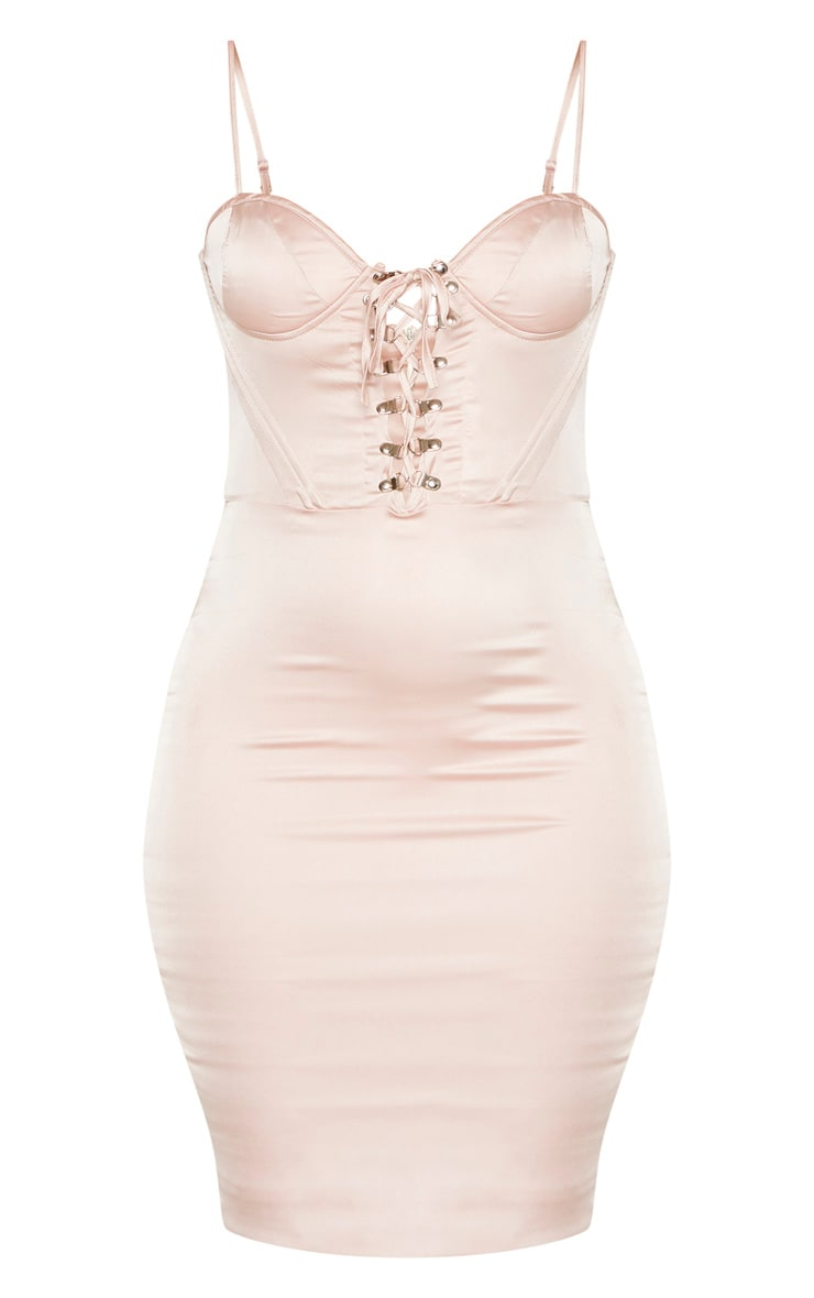 Champagne Satin Eyelet Lace Up Bodycon Dress 3