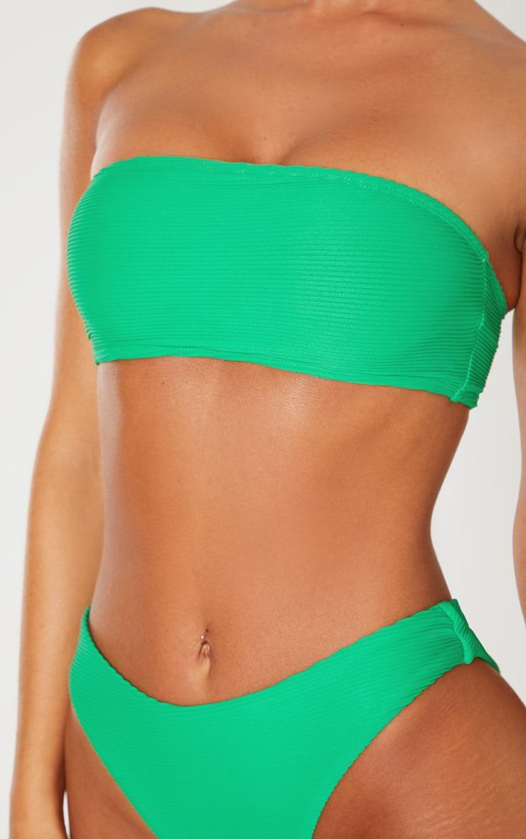 Green Ribbed Bandeau Bikini Top 5