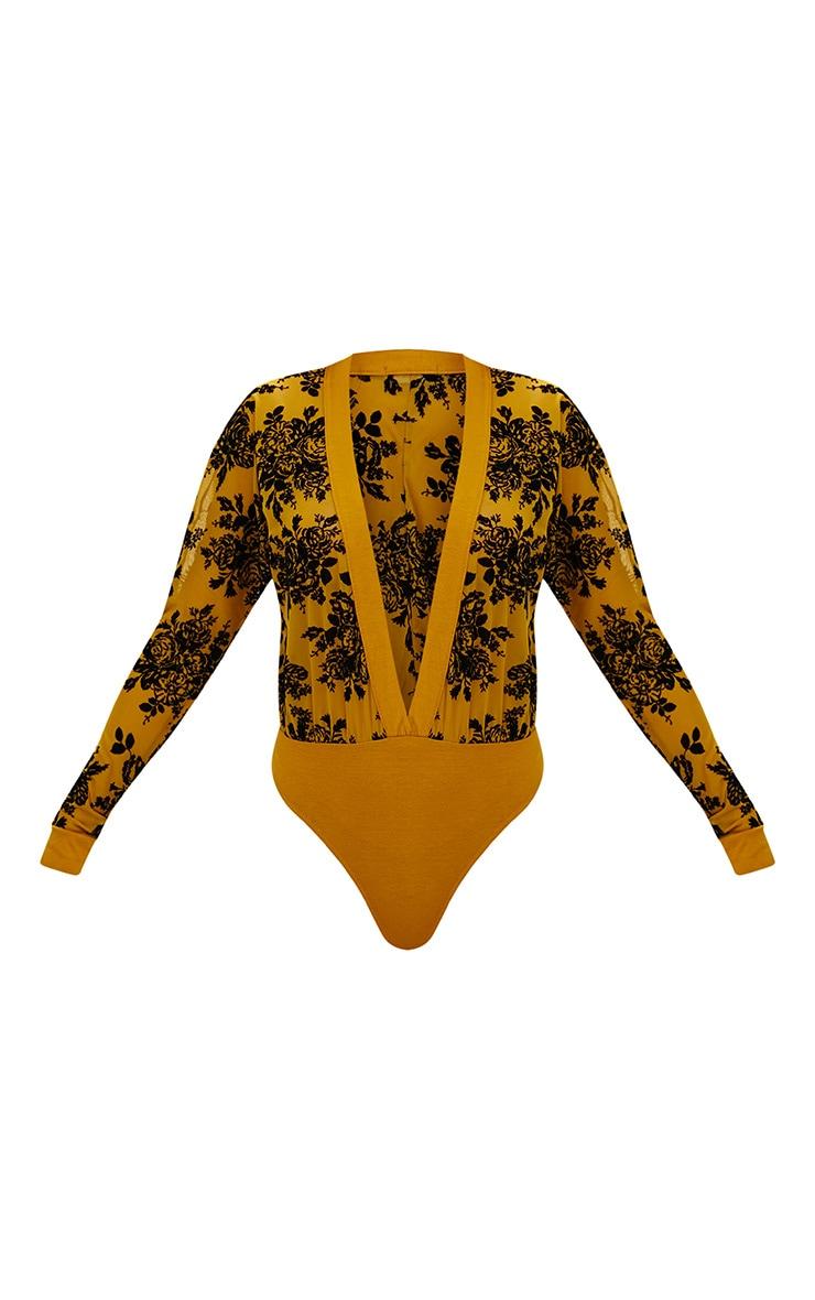 Mustard Floral Flock Mesh Plunge Thong Bodysuit 3