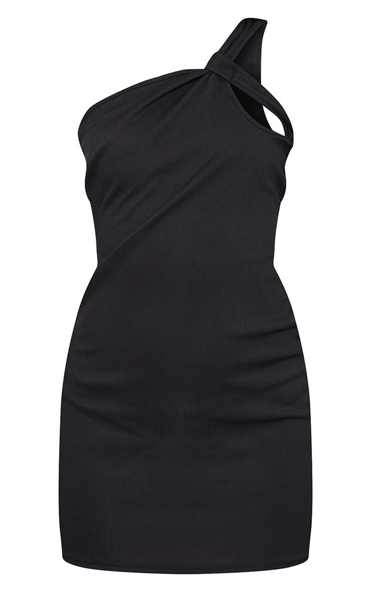 Black Rib Knot Detail One Shoulder Bodycon Dress 5