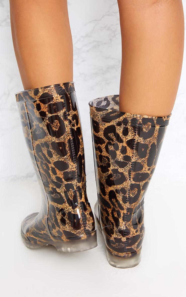 Brown Leopard Print Short Wellies 4