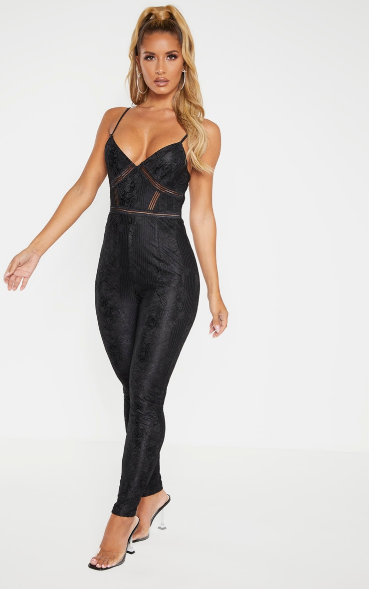 Black Strappy Lace Embroidered Trim Jumpsuit 4