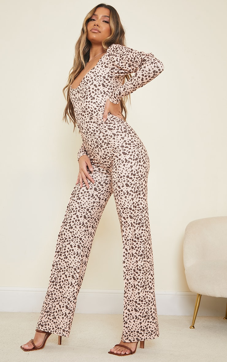 Nude Dalmatian Print Lace Up Back Puff Sleeve Jumpsuit 3