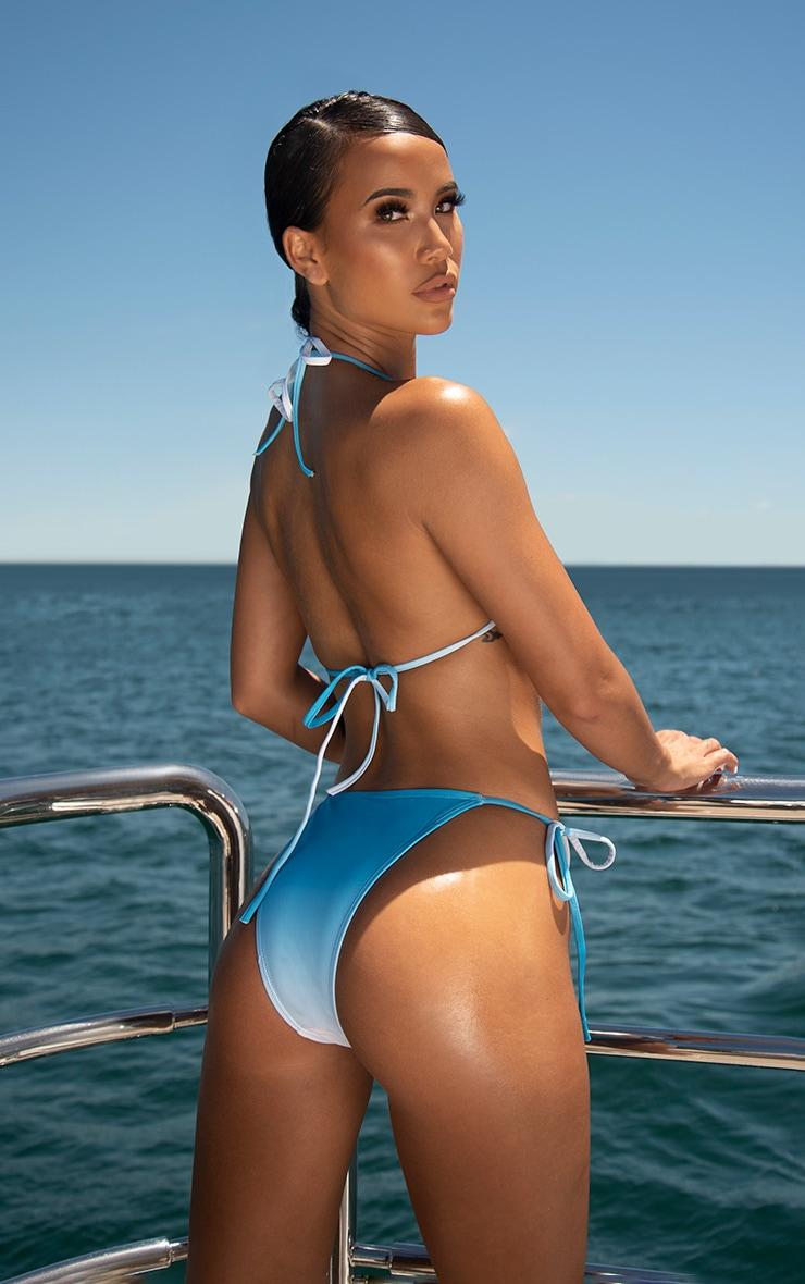 Blue Ombre Padded Triangle Bikini Top 2