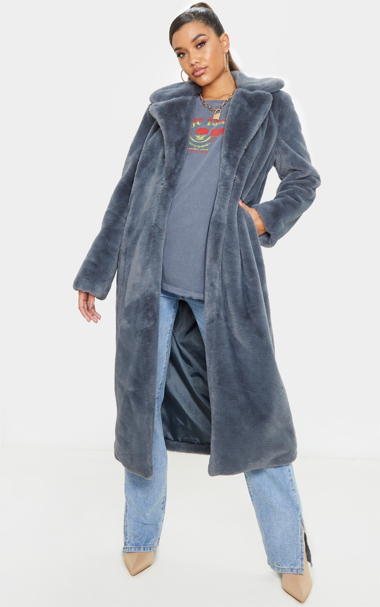 Charcoal Maxi Faux Fur Coat  1