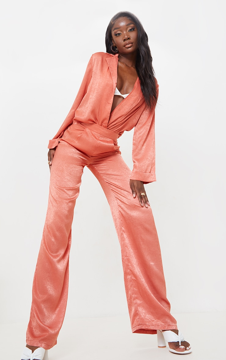 Tall Coral Hammered Satin High Waisted Trousers 1