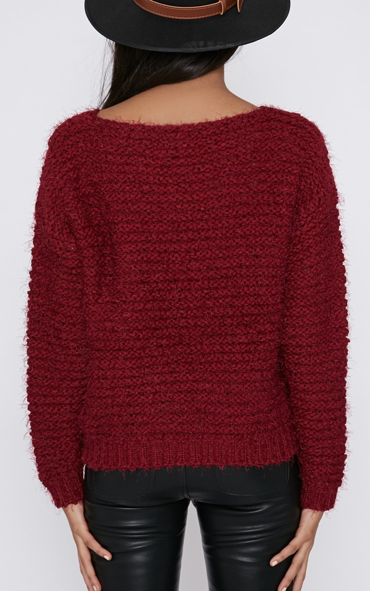 Hadley Burgundy Cropped Jumper  2