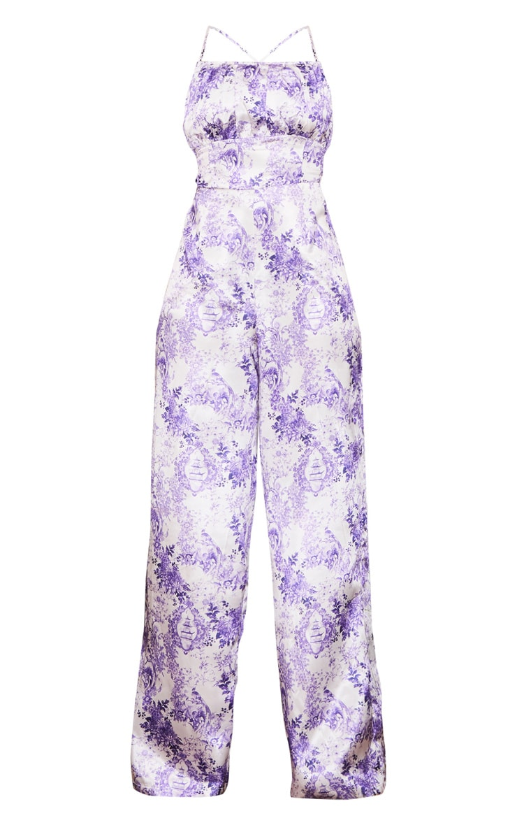 Lilac Porcelain Print Strappy Back Satin Jumpsuit 5