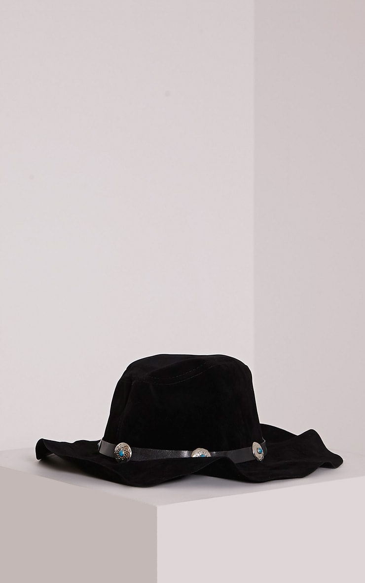 Mable Black Faux Suede Turquoise Stone Fedora Hat 3