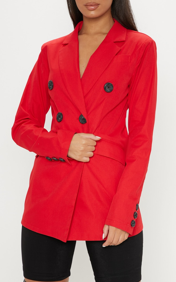 Red Triple Breasted Blazer  5
