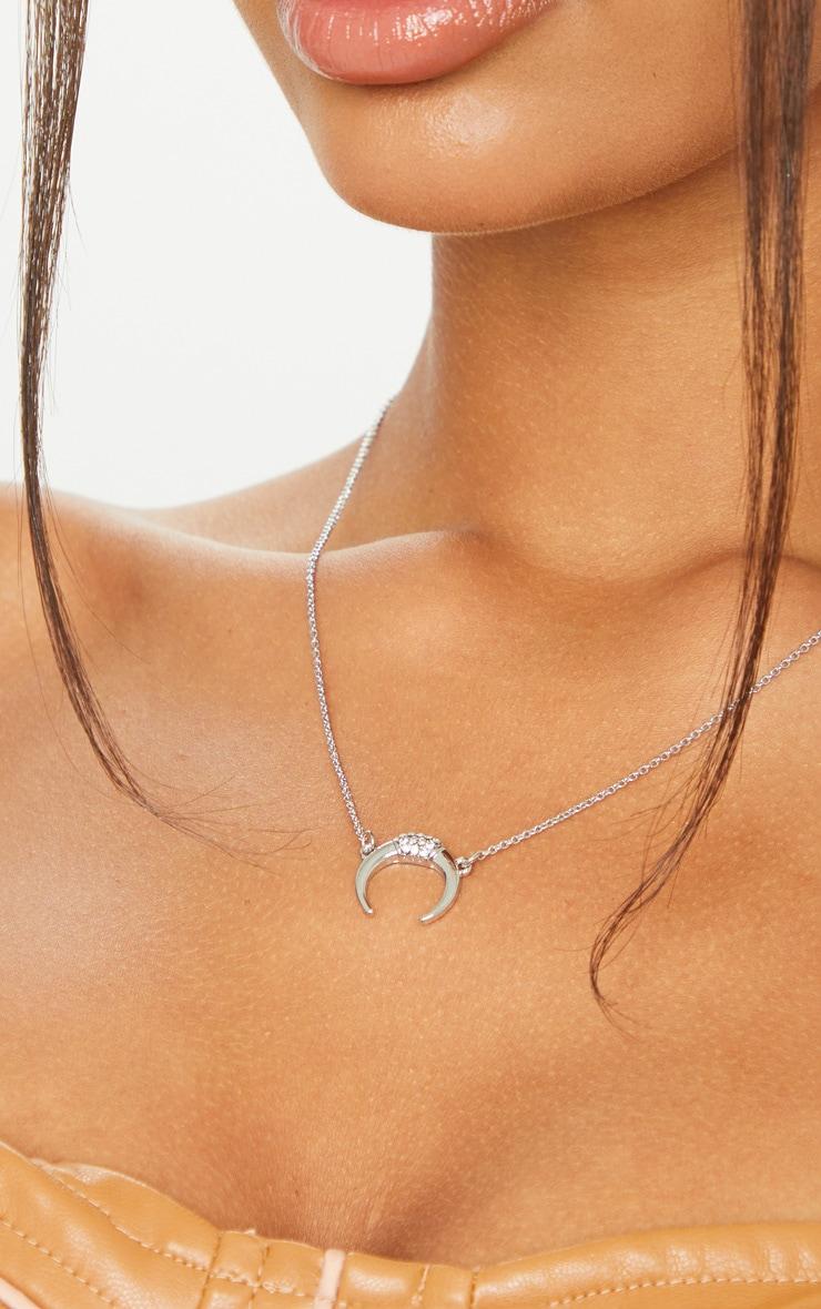 Silver Bull Horn Charm Single Chain Necklace 2