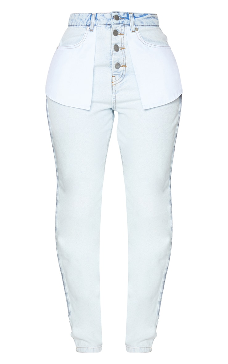Shape Bleach Wash Inside Out Ripped Bum Straight Leg Jeans 5