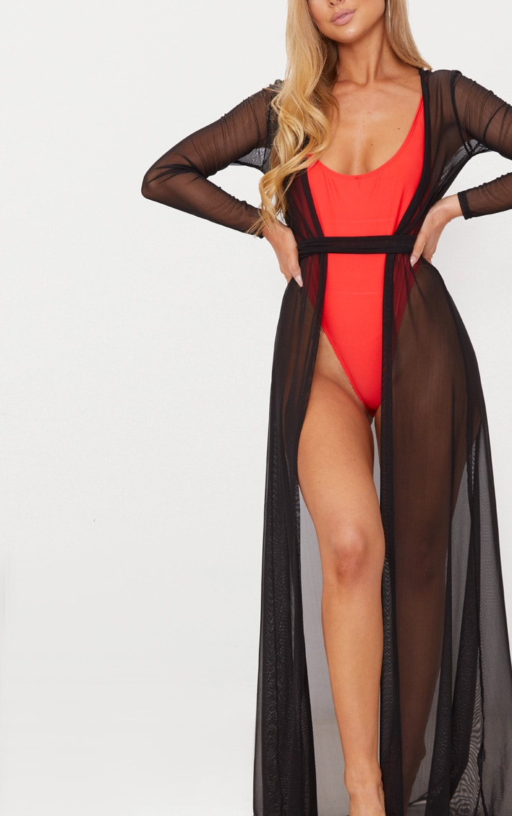 Black Double Belted Mesh Beach Dress 5