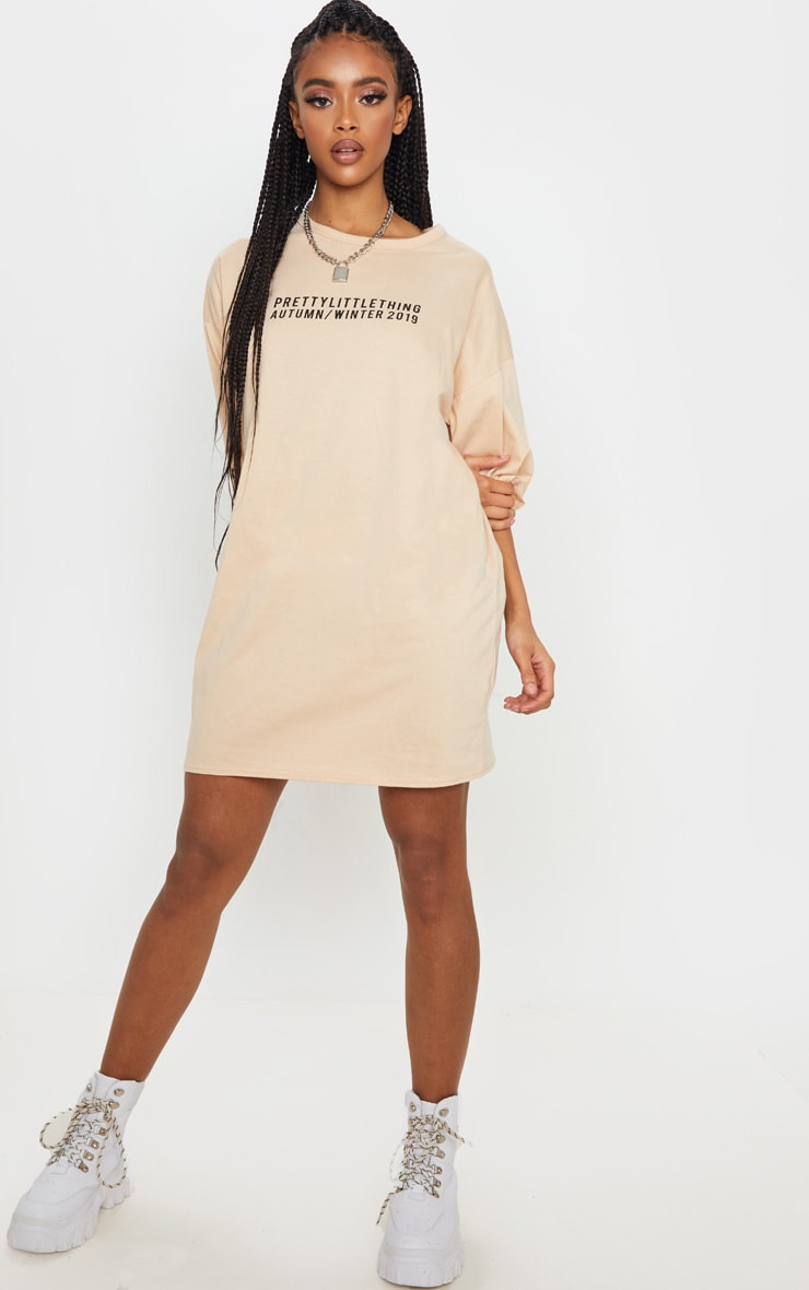 PRETTYLITTLETHING Fawn Aw19 Oversized T-Shirt Dress 4