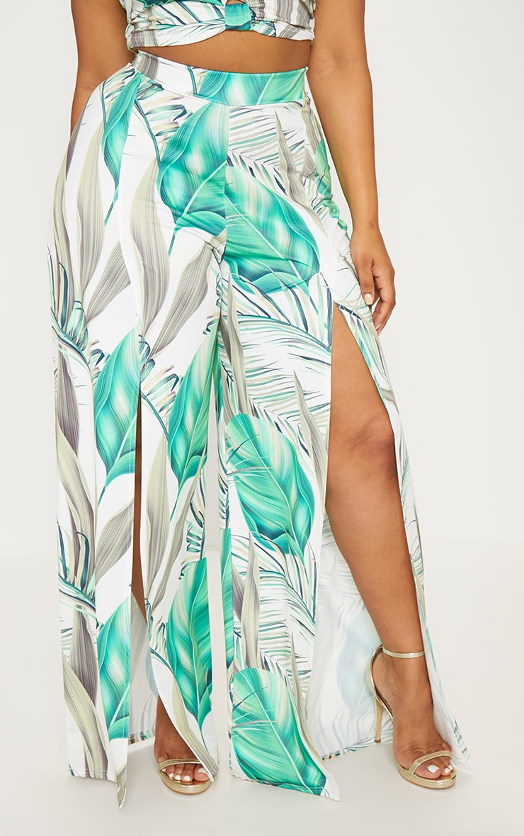 Plus White Tropical Print Wide Leg Trousers 2