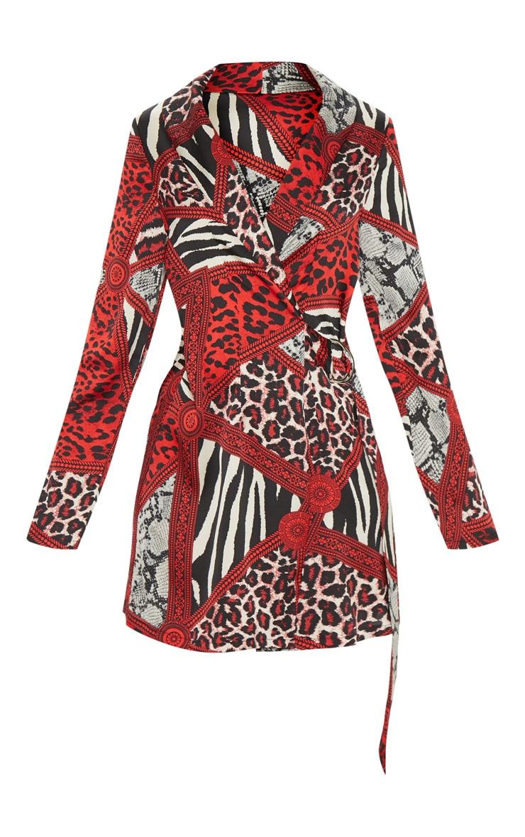 Red Satin Leopard Chain Print D Ring Blazer Dress 3