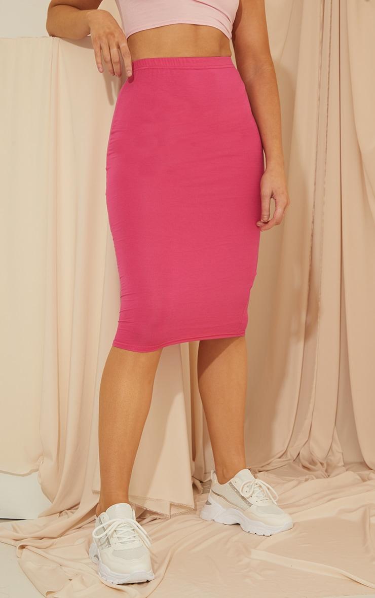 Hot Pink Basic Midi Skirt 2