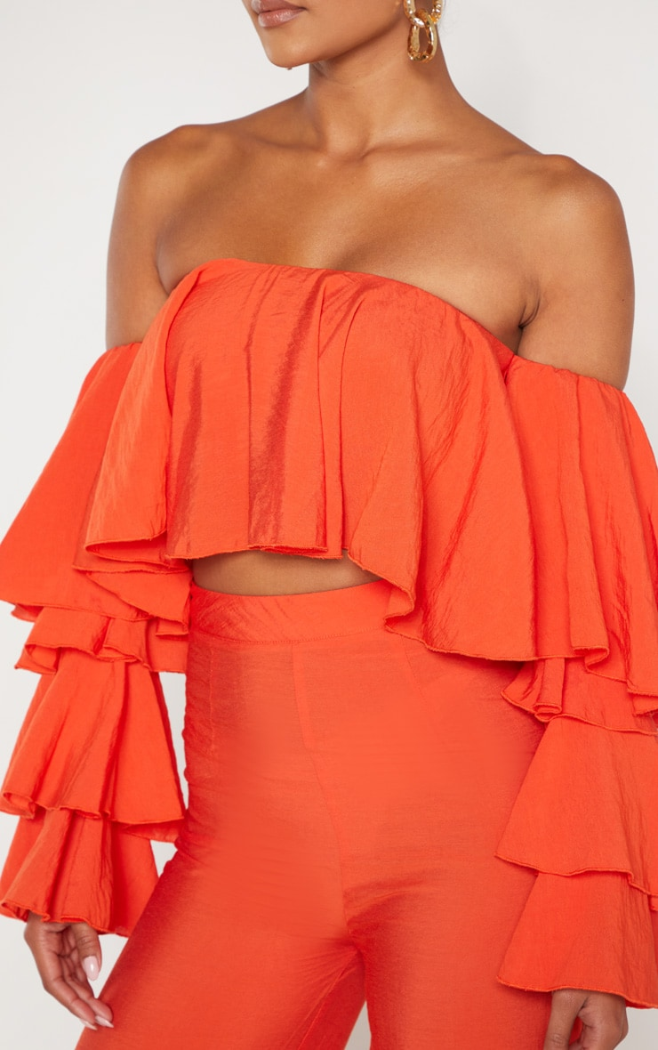 Bright Orange Woven Bardot Tiered Sleeve Crop Top 5