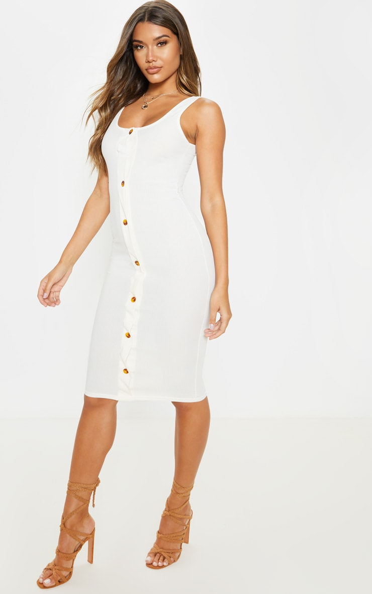 Ecru Ribbed Button Detail Midi Dress 4