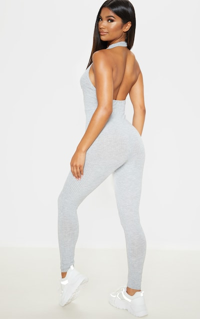 Grey Rib High Neck Backless Jumpsuit