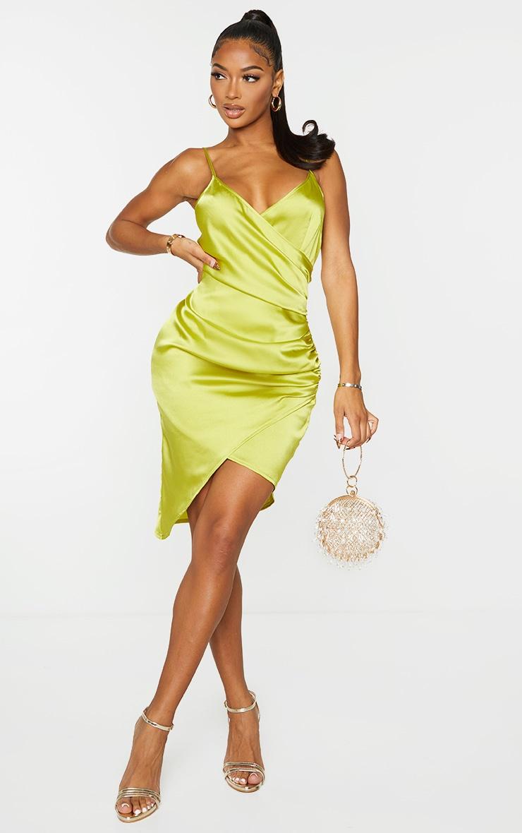 Shape Lime Satin Wrap Dress 1