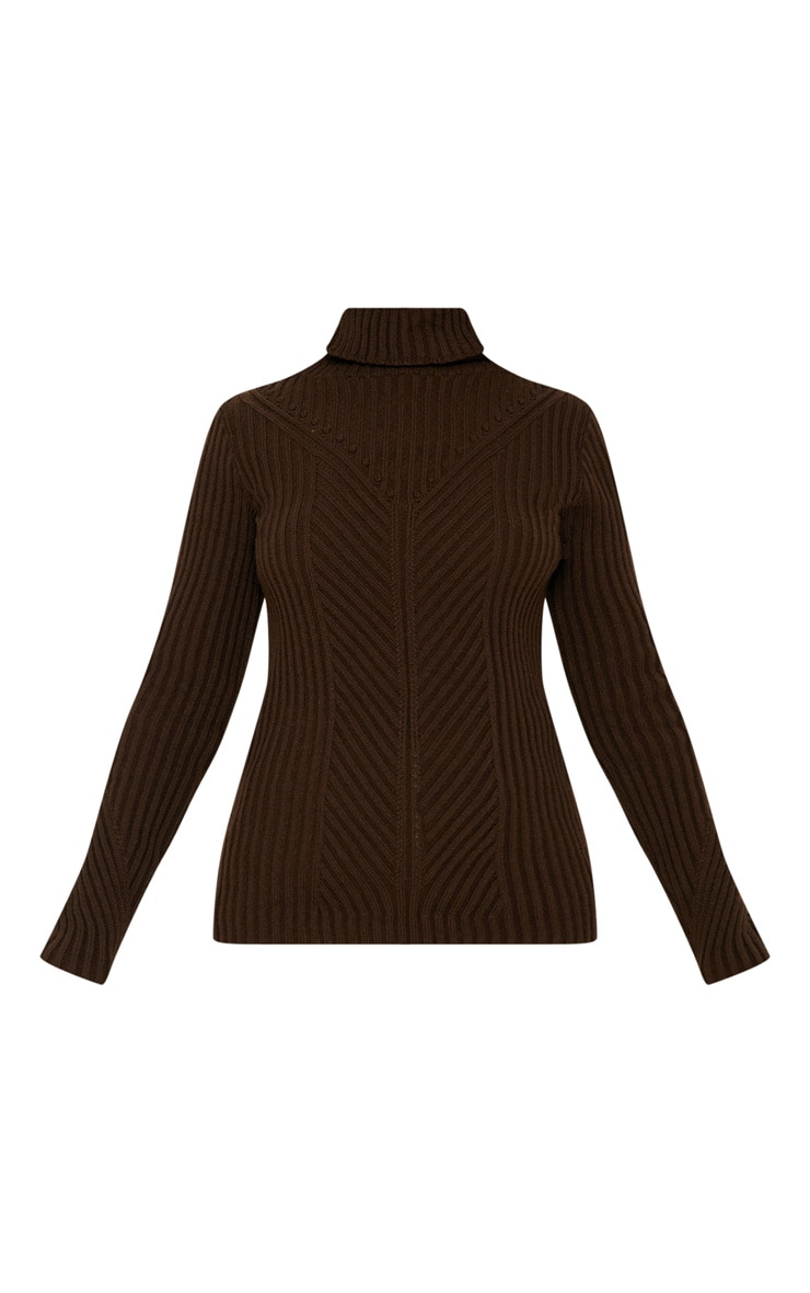 Petite Chocolate Brown High Neck Sweater 3