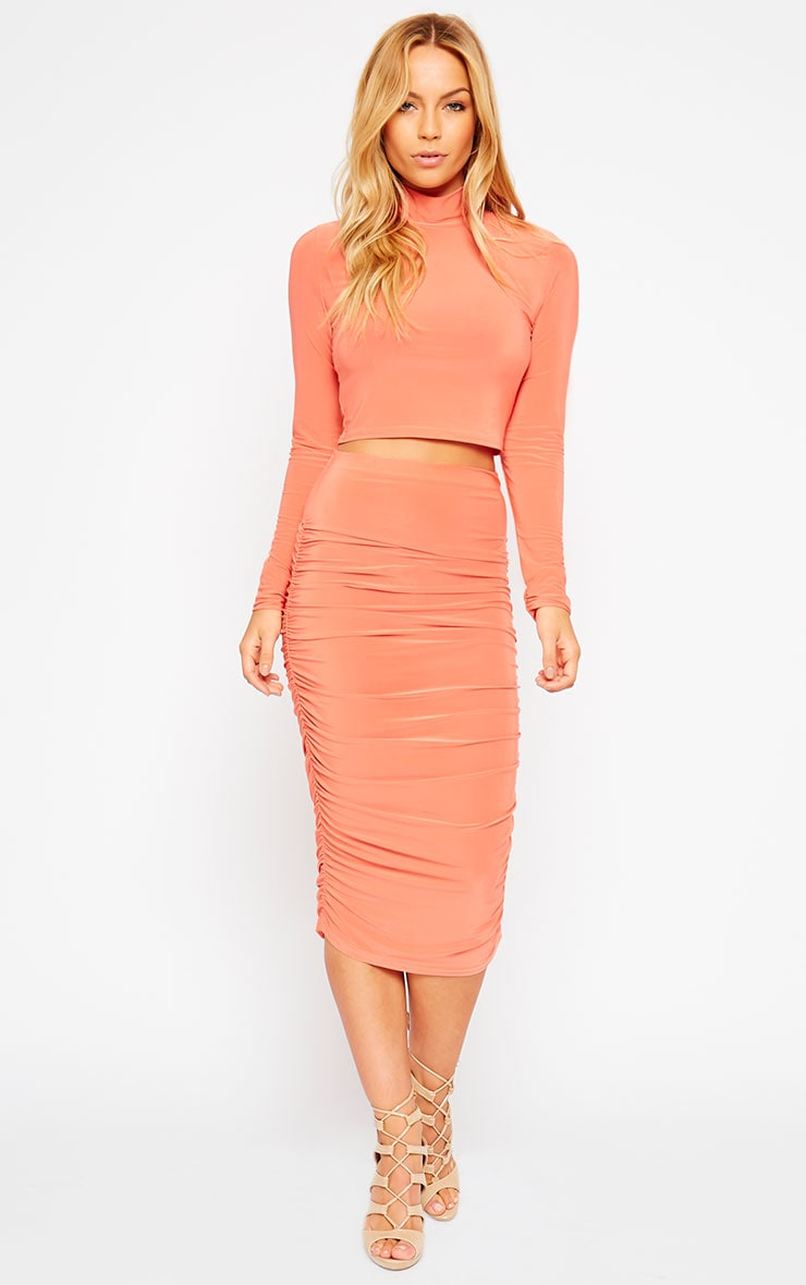 Saylor Orange Slinky Gathered Midi Skirt 1