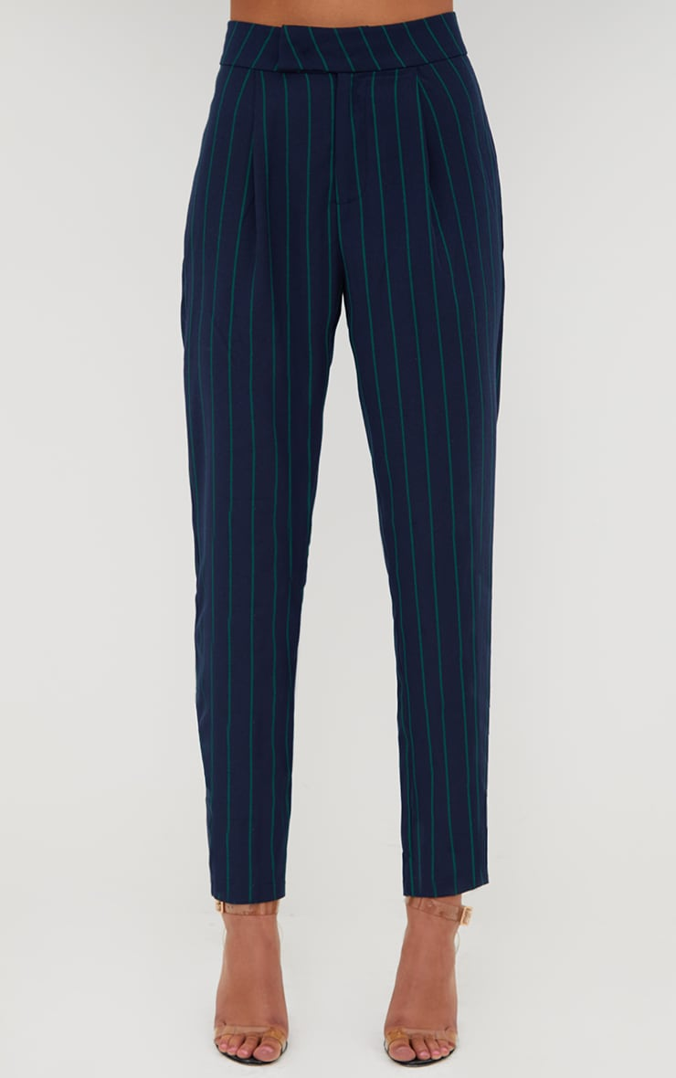 Navy Pinstripe Tailored Trousers 2