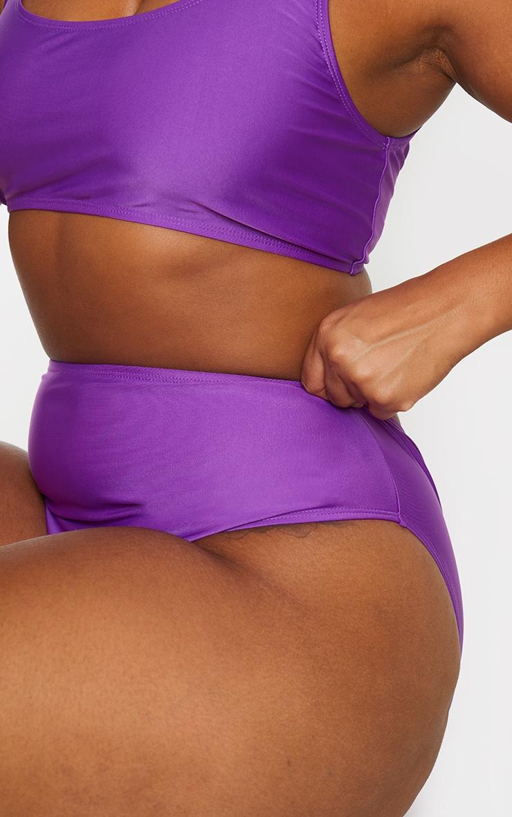 Plus Purple Basic High Waisted Bikini Bottoms 5