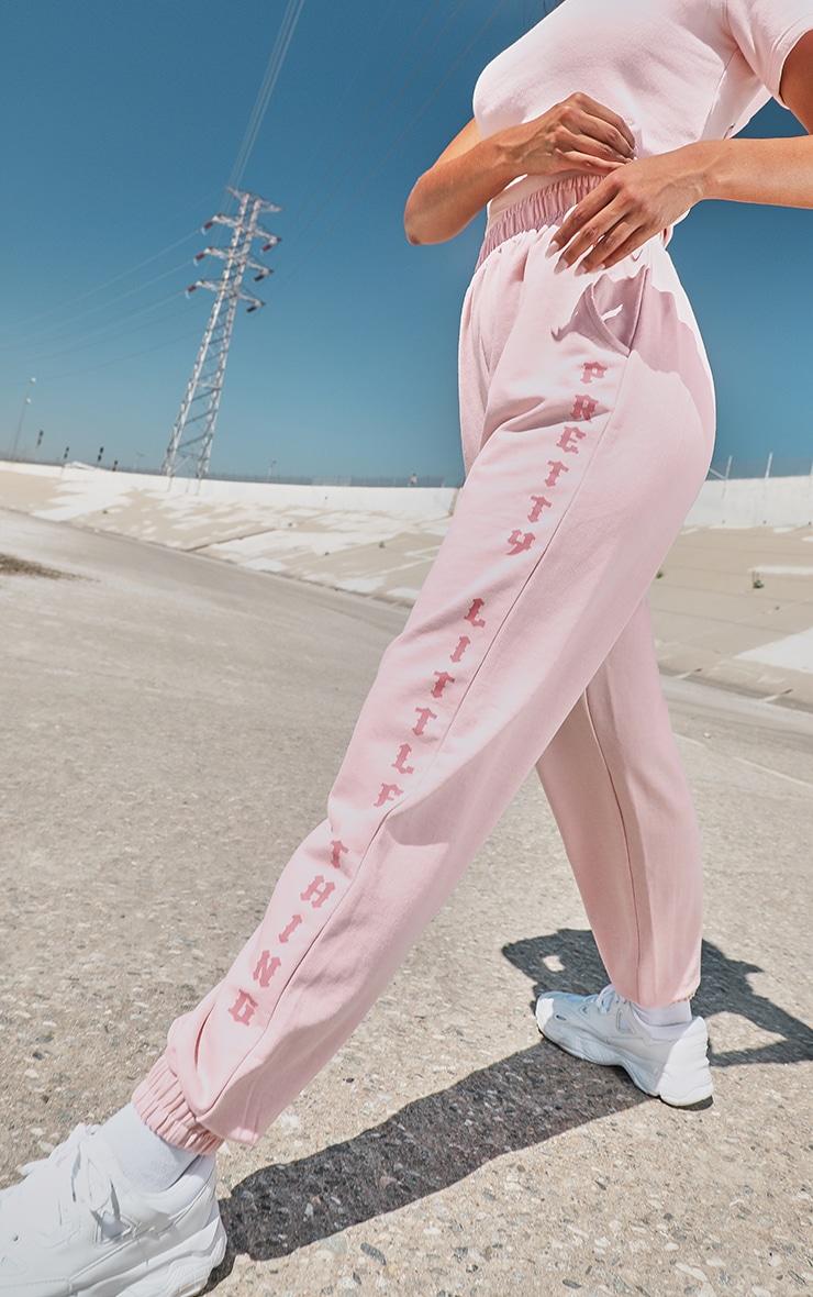 PRETTYLITTLETHING Baby Pink Slogan Side Sweatpants 4