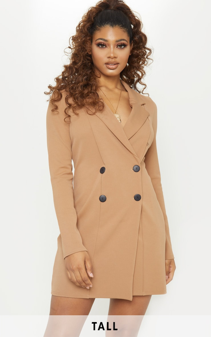 Tall Brown Mini Double Breasted Blazer Dress 1