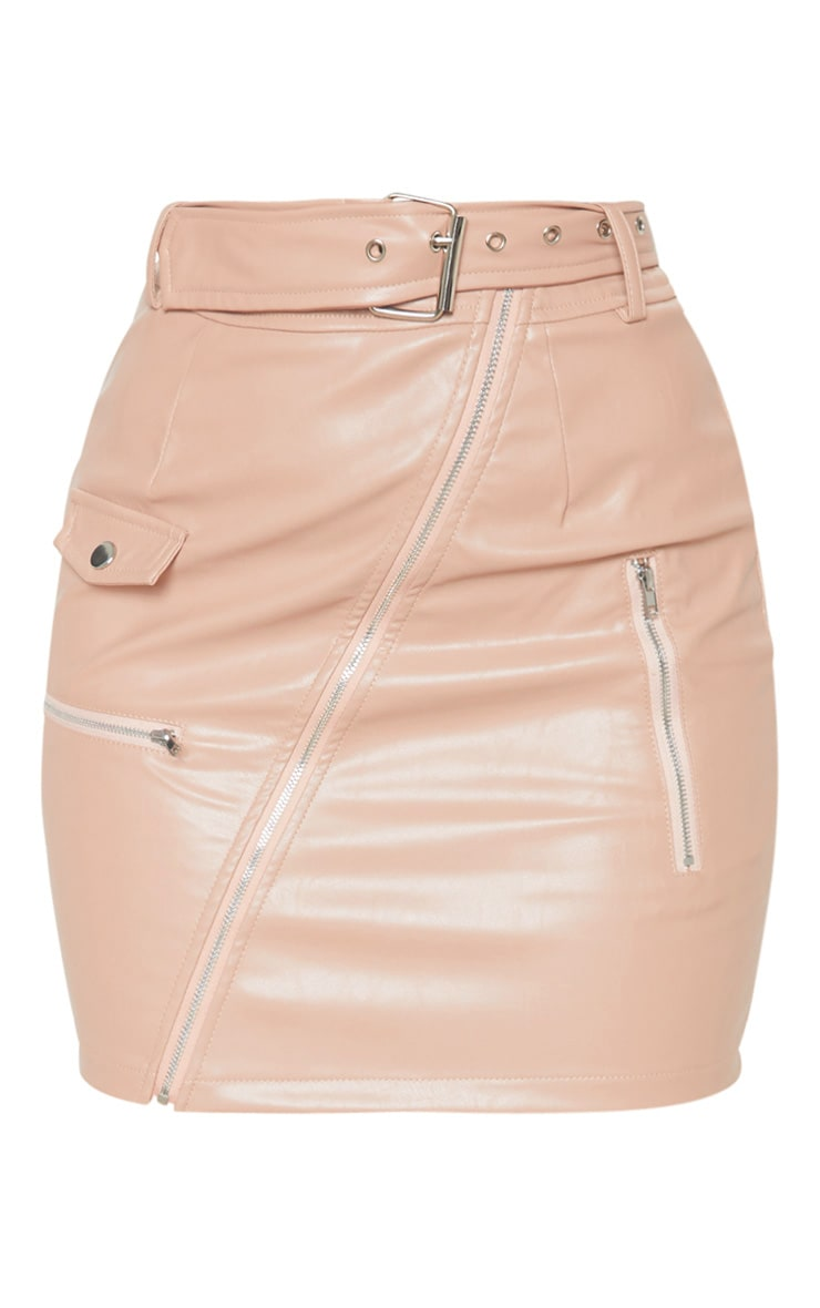 Petite Taupe Faux Leather Biker Belted Mini Skirt 3