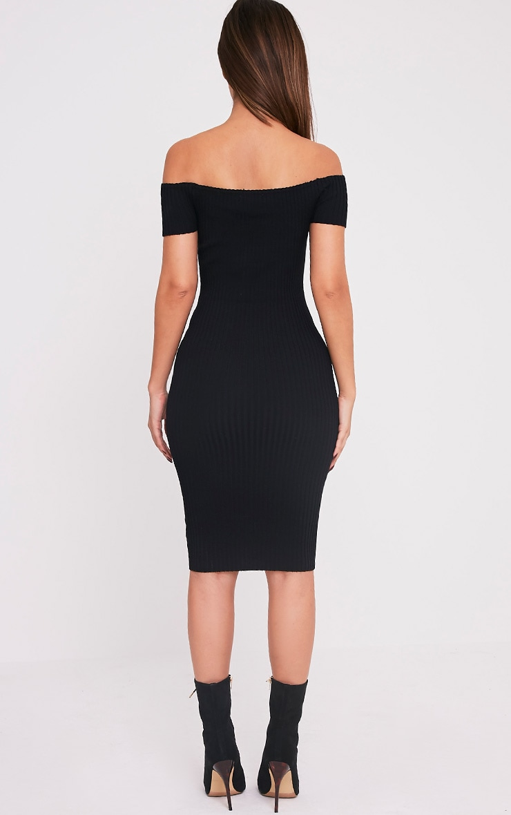 Erin robe midi bardot noire tricotée et côtelée 2