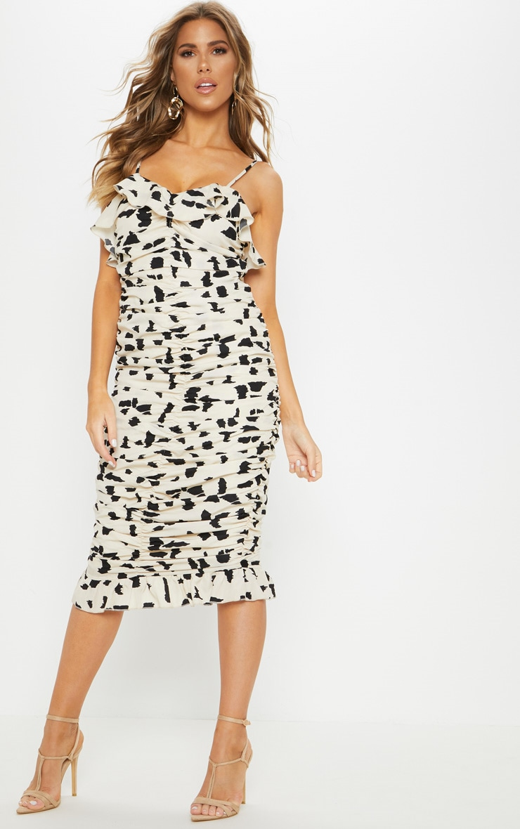 Cream Spotted Multi Ruched Frill Top Midi Dress image 1