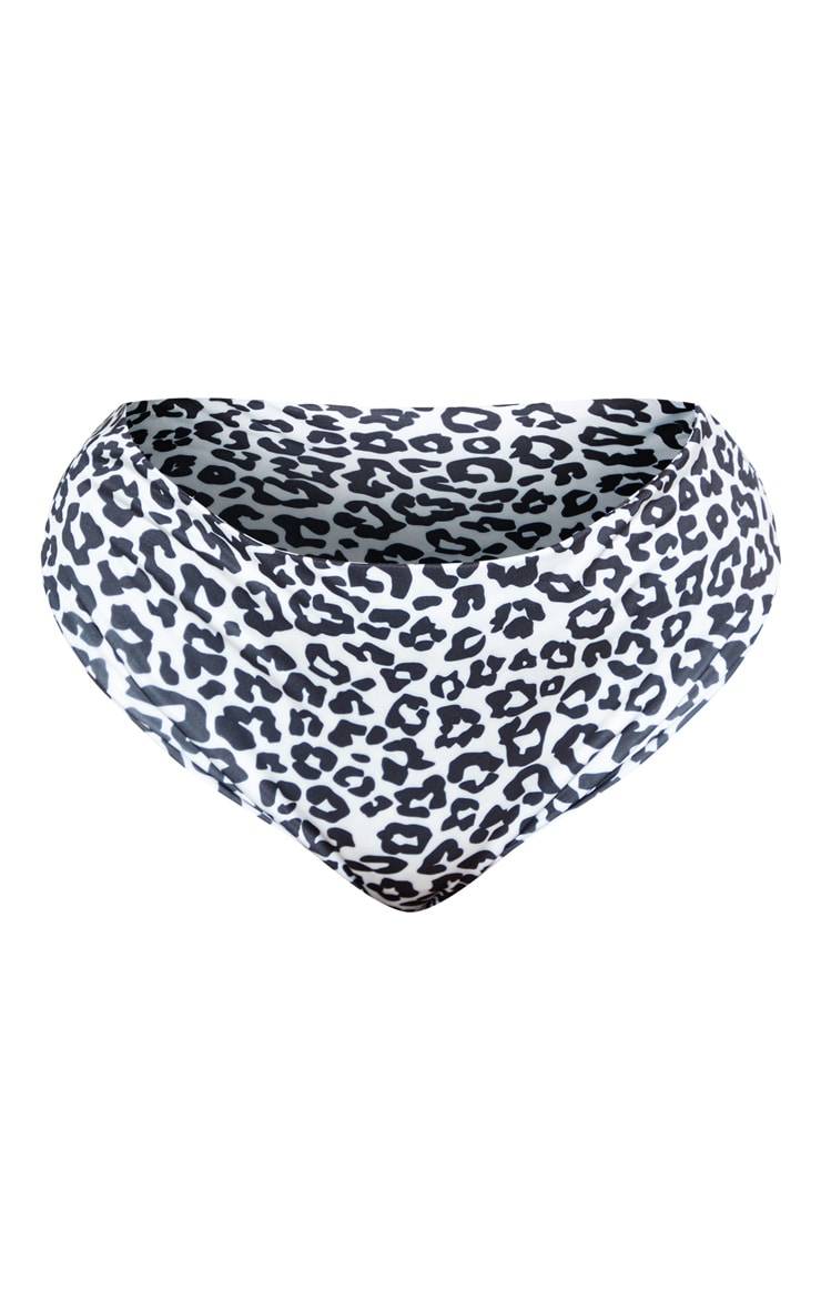 Plus White Leopard Print High Rise Bikini Bottom  3