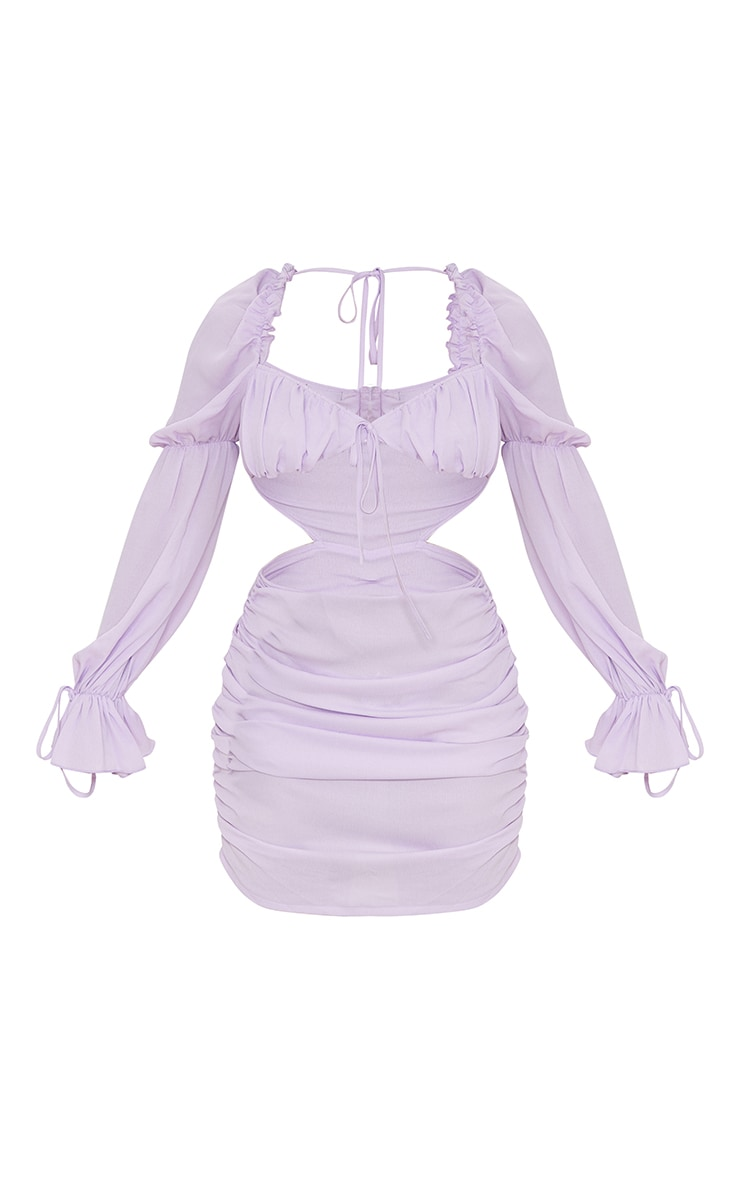 Lilac Cut Out Ruched Detail Bodycon Dress 5