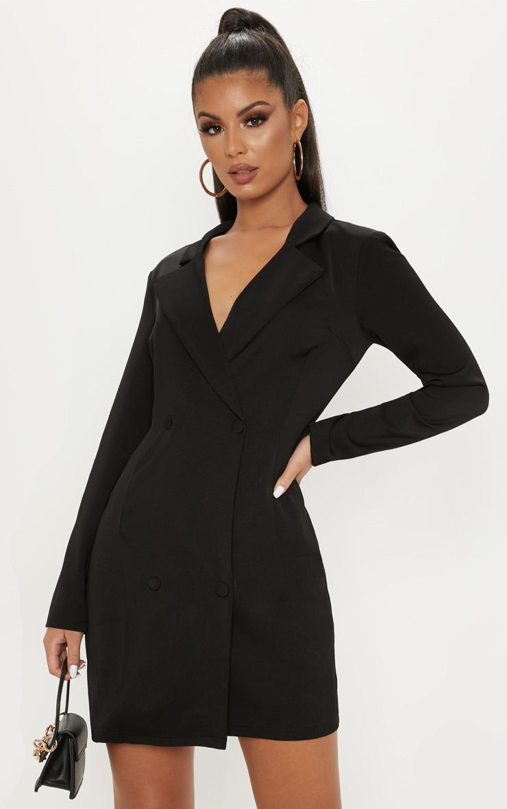 Black Long Sleeve Blazer Dress 1