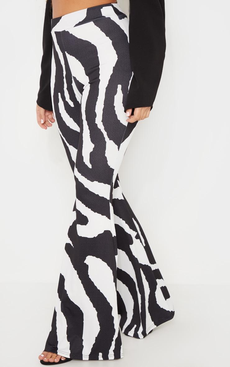 Black Zebra Print Flared Trouser 2