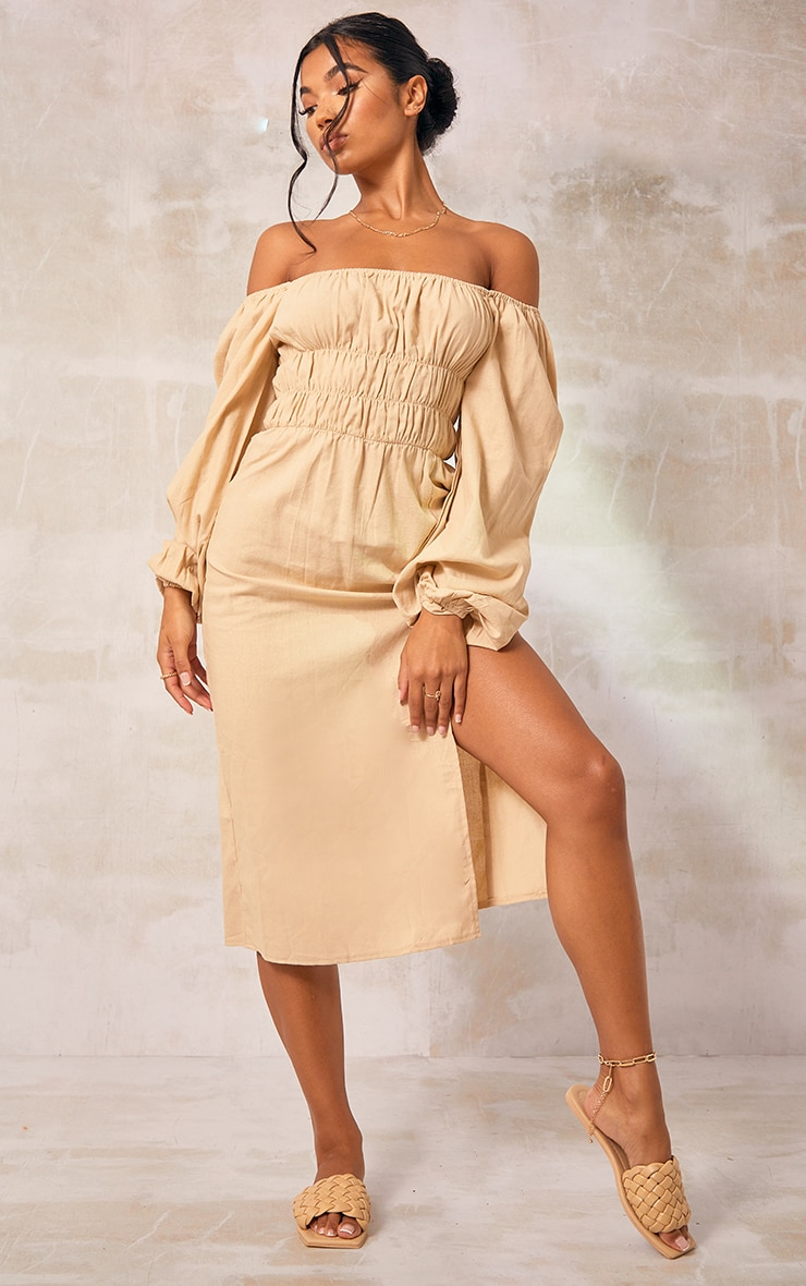 Stone Ruched Bust Long Sleeve Midi Dress