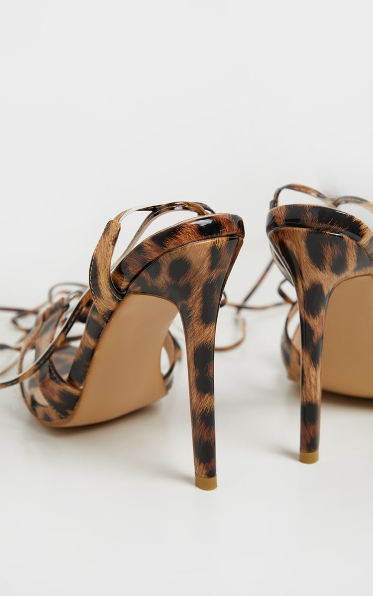 Leopard Point Ring Detail Lace Up Sandal 4