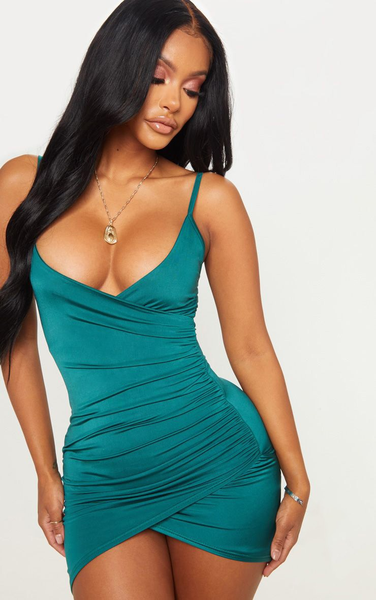 Shape Emerald Green Ruched Side Strappy Bodycon Dress 1
