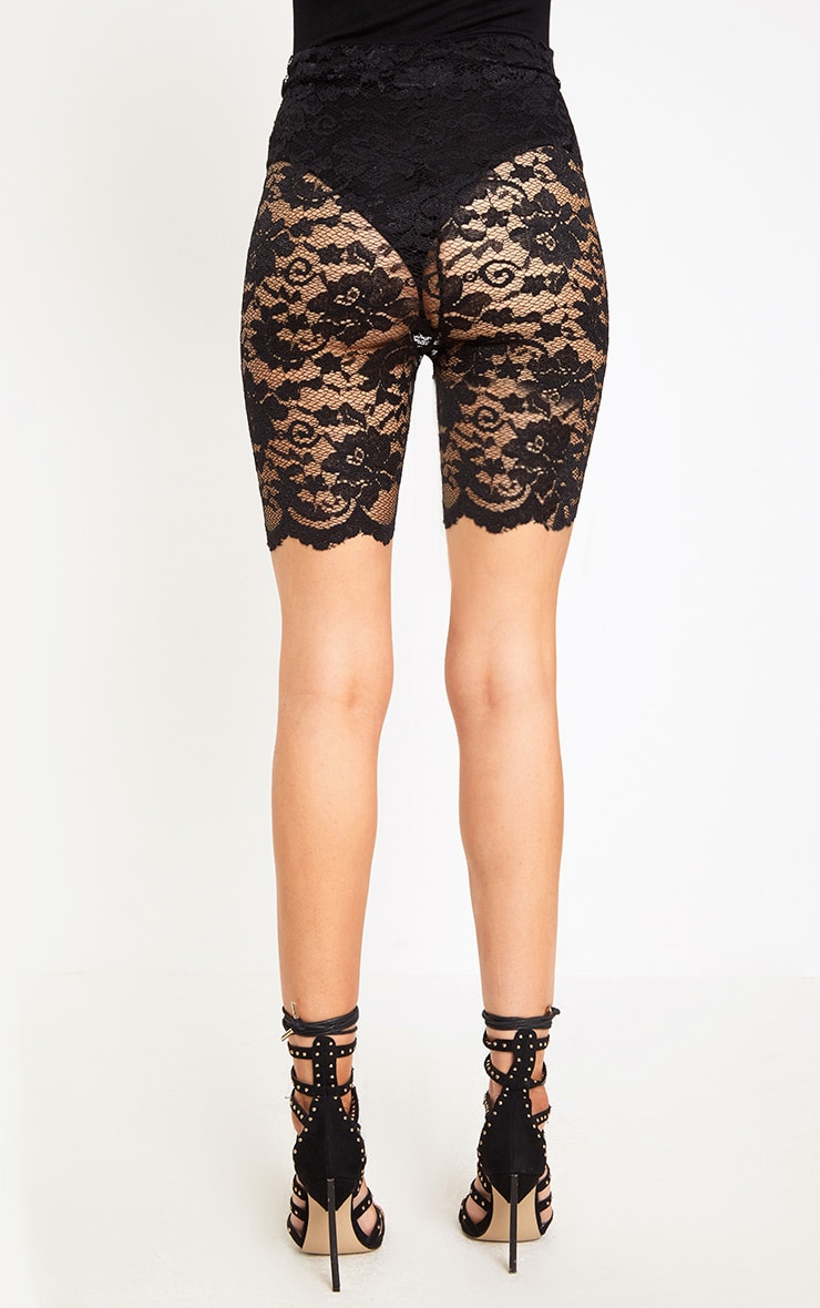 Black Scallop Lace Cycle Shorts 4