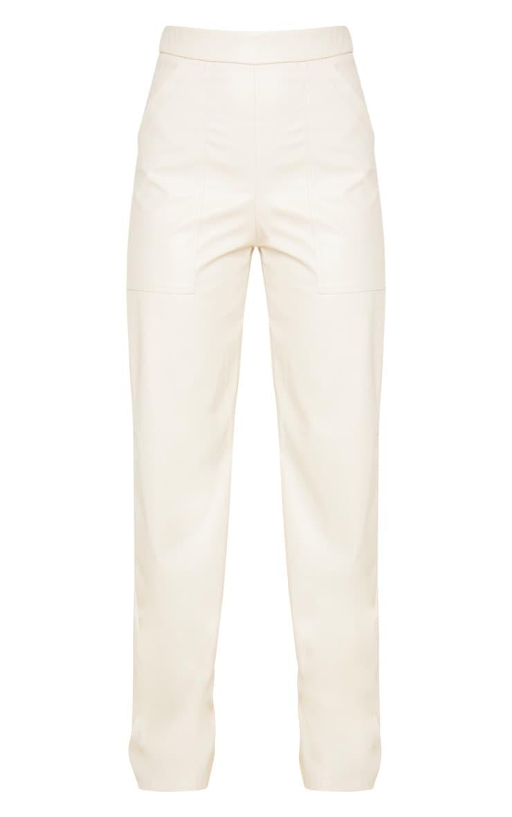 Cream Pocket Detail Faux Leather Straight Leg Pants 3