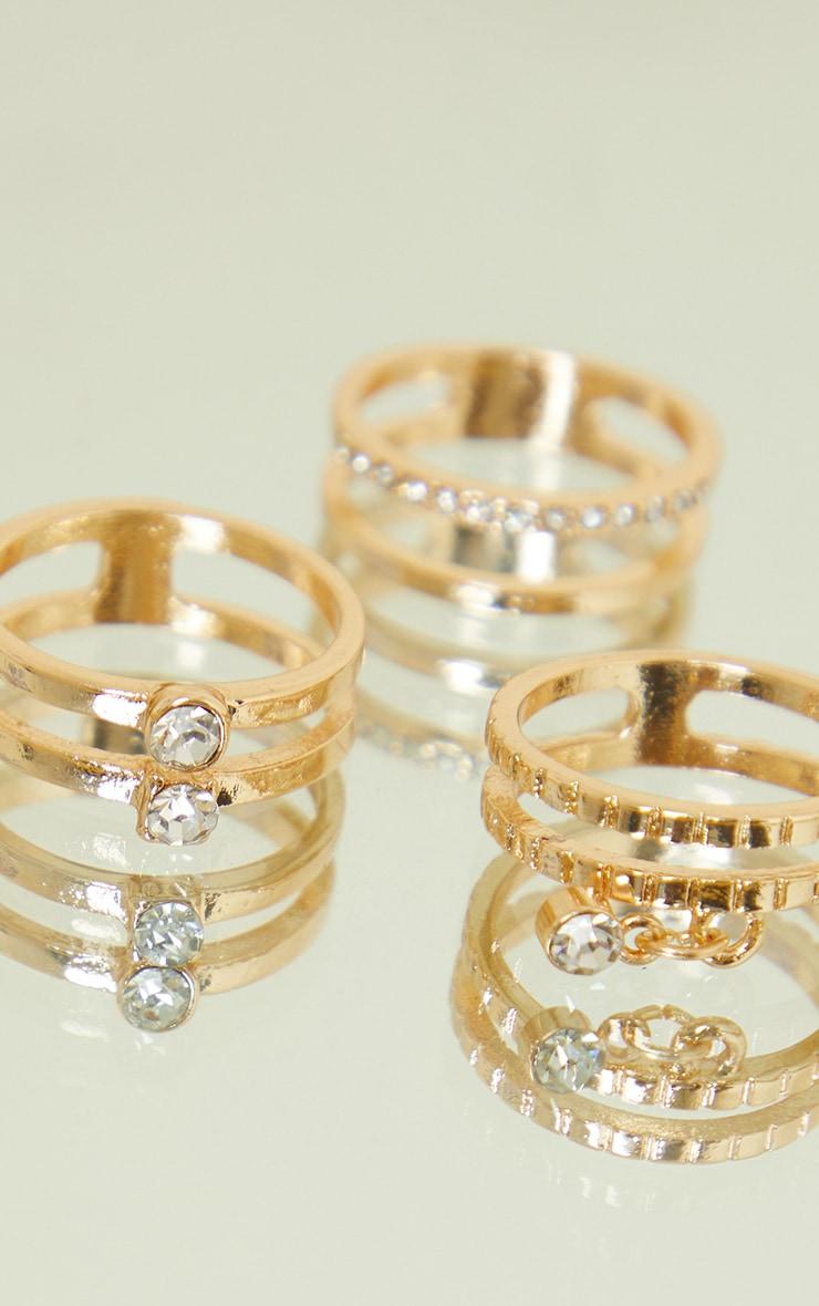 Gold Diamante Assorted Rings 3