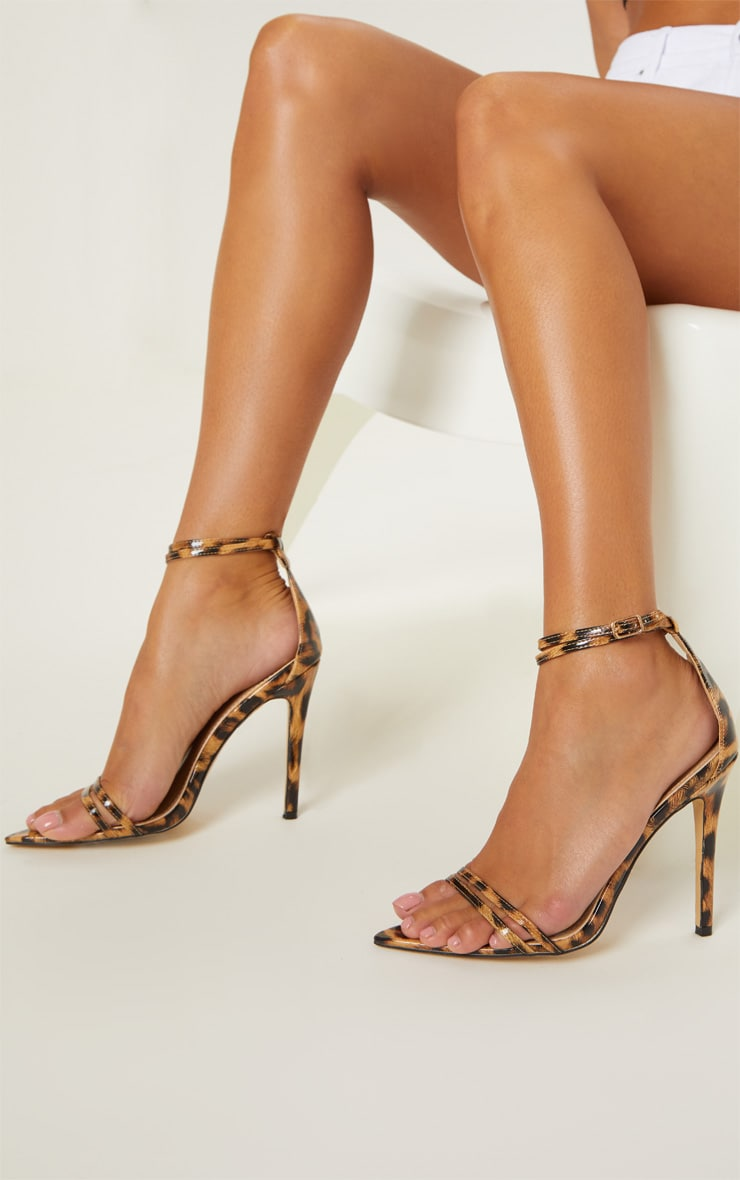 Sandales pointues léopard à brides